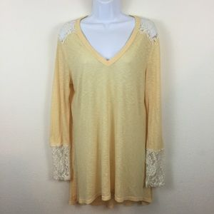 STEEZYER YELLOW LONG SLEEVE NIGHT GOWN w/LACE